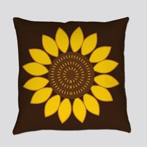 Sunflower Flowered Brown Everyday Pillow