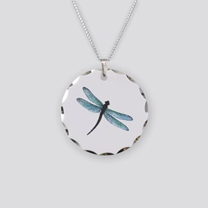 Dragonfly Necklace Circle Charm