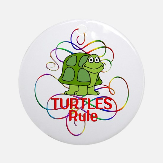 Turtles Rule Round Ornament