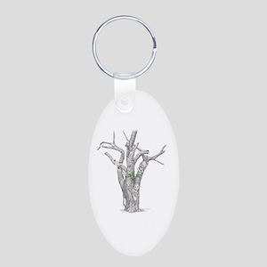 Tree Animals Aluminum Oval Keychain