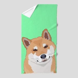 Shiba Inu Beach Towel