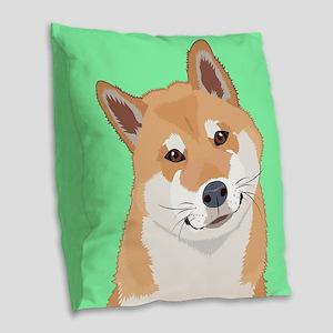 Shiba Inu Burlap Throw Pillow