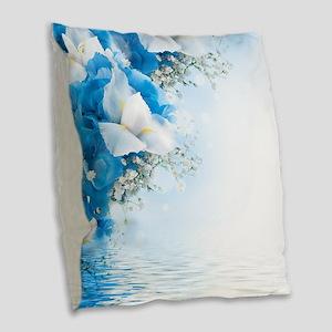 Beautiful Floral Burlap Throw Pillow