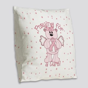 Praying For A Cure Burlap Throw Pillow