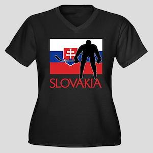 Slovak Hockey Women's Plus Size V-Neck Dark T-Shir