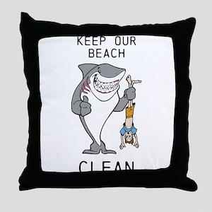 Clean Beaches Throw Pillow