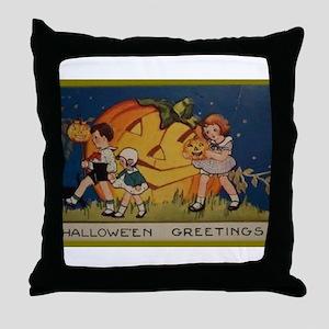 Vintage Halloween Postcard 6 Throw Pillow