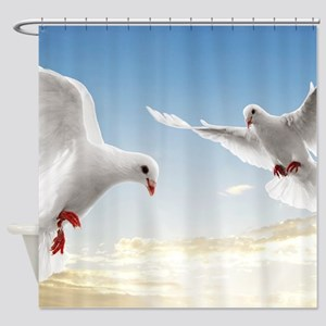 White Doves In The Sky Shower Curtain