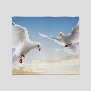 White Doves In The Sky Throw Blanket