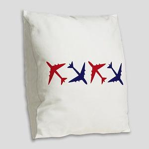 Airplanes Burlap Throw Pillow