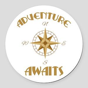 Adventure Awaits Round Car Magnet