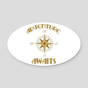 Adventure Awaits Oval Car Magnet