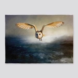 An barn owl flies over the lake 5'x7'Area Rug