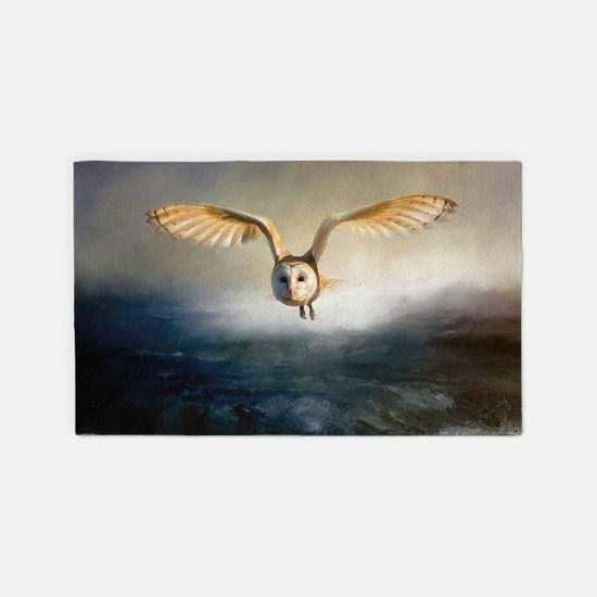 An barn owl flies over the lake Area Rug