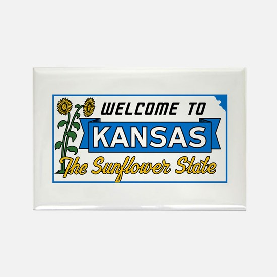 Welcome to Kansas Vintage 50s - U Rectangle Magnet