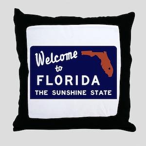 Welcome to Florida Vintage 70s - USA Throw Pillow