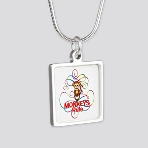 Monkeys Rule Silver Square Necklace