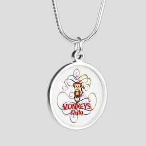 Monkeys Rule Silver Round Necklace