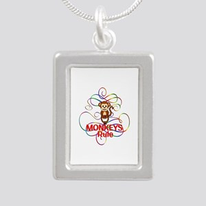 Monkeys Rule Silver Portrait Necklace