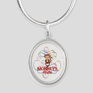 Monkeys Rule Silver Oval Necklace