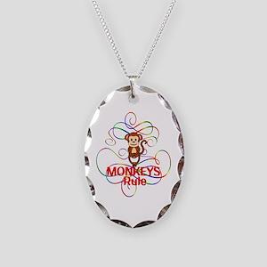 Monkeys Rule Necklace Oval Charm