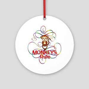 Monkeys Rule Round Ornament