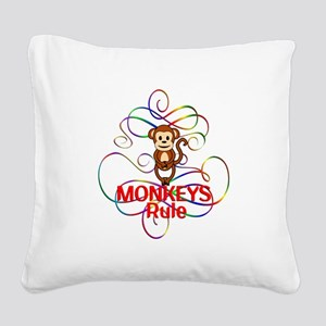 Monkeys Rule Square Canvas Pillow