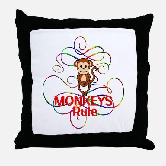 Monkeys Rule Throw Pillow