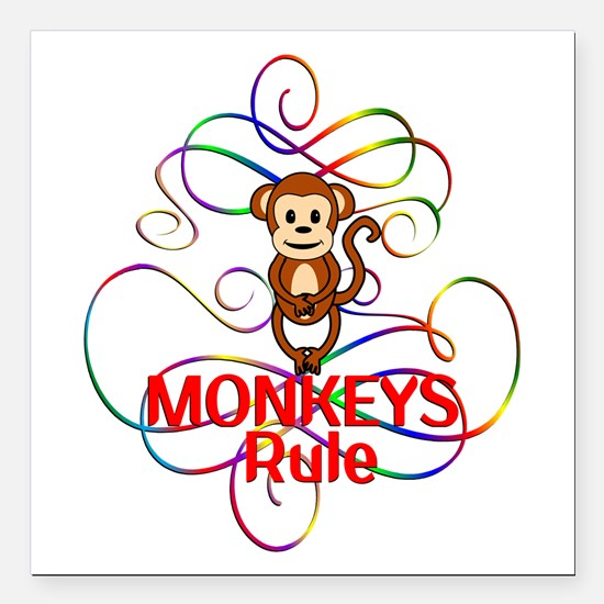 "Monkeys Rule Square Car Magnet 3"" x 3"""