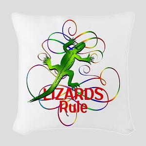 Lizards Rule Woven Throw Pillow