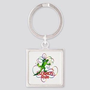 Lizards Rule Square Keychain