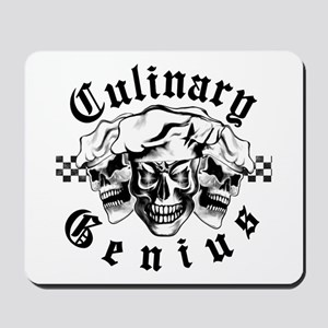 Chef Skull Trio: Culinary Genius (black Mousepad