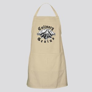 Chef Skull Trio: Culinary Genius (black text Apron