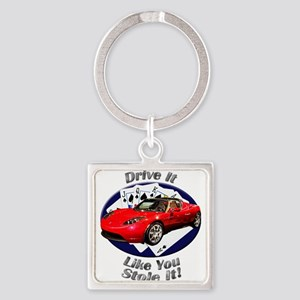 Tesla Roadster Square Keychain