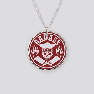 Badass Chef Red Necklace Circle Charm