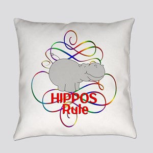 Hippos Rule Everyday Pillow