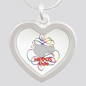 Hippos Rule Silver Heart Necklace