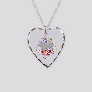Hippos Rule Necklace Heart Charm