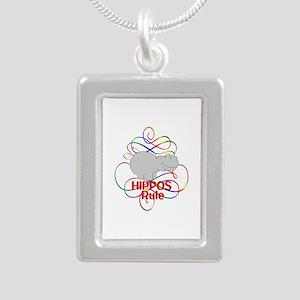 Hippos Rule Silver Portrait Necklace