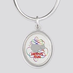 Hippos Rule Silver Oval Necklace