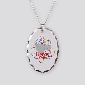 Hippos Rule Necklace Oval Charm