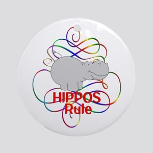 Hippos Rule Round Ornament