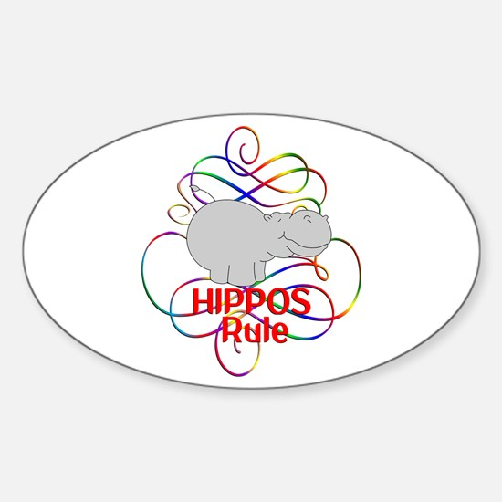 Hippos Rule Sticker (Oval)