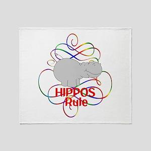 Hippos Rule Throw Blanket