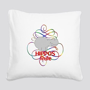Hippos Rule Square Canvas Pillow