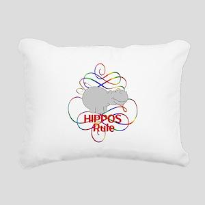 Hippos Rule Rectangular Canvas Pillow