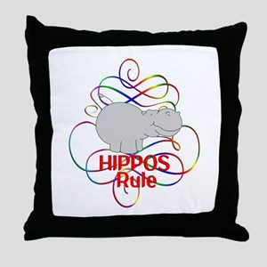 Hippos Rule Throw Pillow