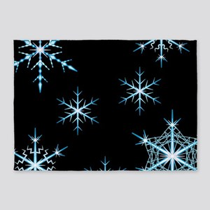 Snowflakes Kind of Night 5'x7'Area Rug