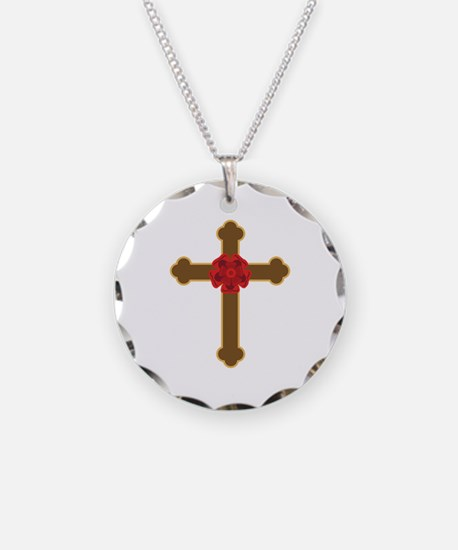 Rose cross necklaces rose cross dog tags necklace charmspendants rosy cross necklace aloadofball Choice Image