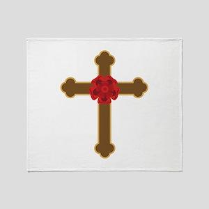 Rosy Cross Throw Blanket